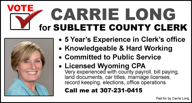Vote for Carrie Long for Sublette County Clerk