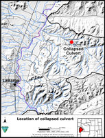 Map showing location of damaged culvert northeast of LaBarge in Bird Canyon.