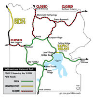 Yellowstone National Park Phase 1 reopening. YNP graphic.